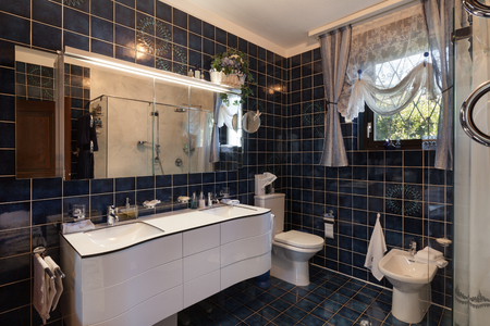 호화스러운 집에 현대적인 욕실 인테리어