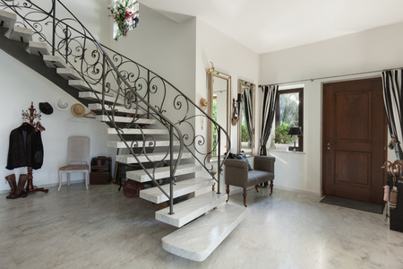 wall decoration: House Interior with staircase in large hall with marble floor