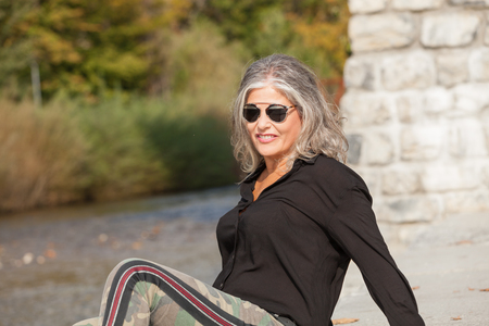 mature women: Fifty year old woman in outdoors