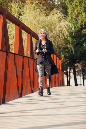 corten: Fifty year old woman in outdoors