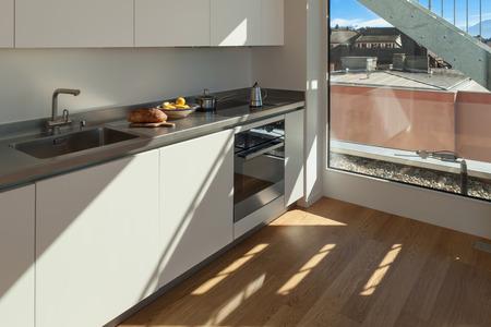 white kitchen: Interior of nice apartment, white domestic kitchen