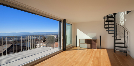 wide open: Interior, wide open space of a duplex, large window