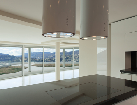 wide open: Interior, wide open space, hob of a modern kitchen