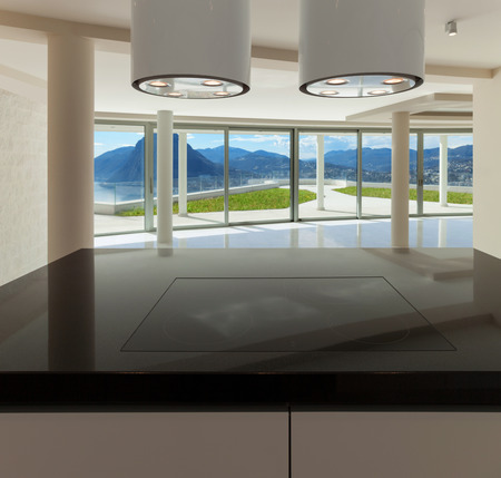 new kitchen room: Interior of wide open space, hob of a modern kitchen