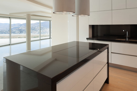 wide open: Interior of wide open space, hob of a modern kitchen
