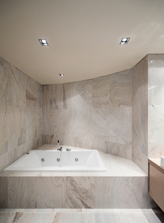 ceiling tile: Interior of marble bathroom with bathtub modern design