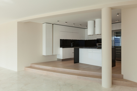 in ceiling: Interior of wide room with kitchen modern design