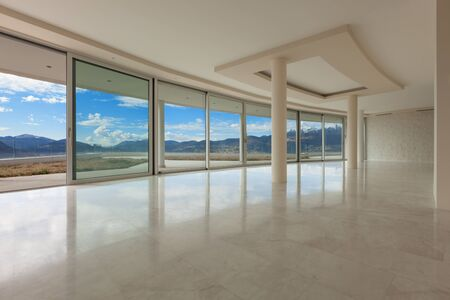 empty room of a modern penthouse, marble floor