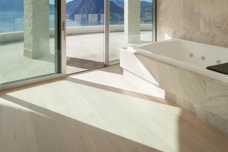 広い部屋と大理石のバスルーム モダンなデザインのインテリア