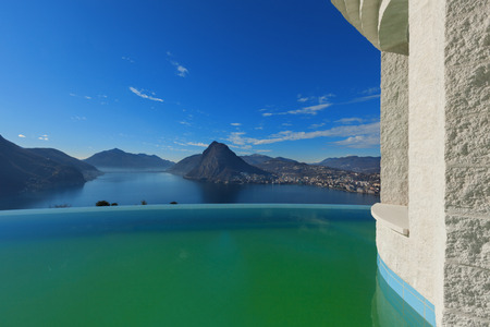beautiful landscape from a modern house with infinity pool