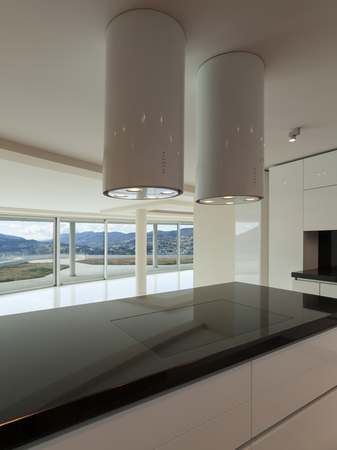 hob: Interior of wide open space, hob of a modern kitchen