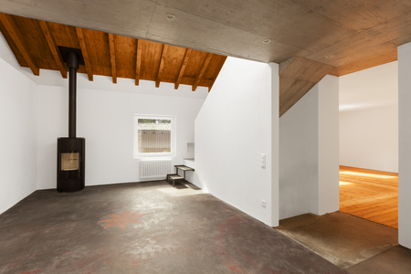 wood pellet: Modern loft interior, nobody inside
