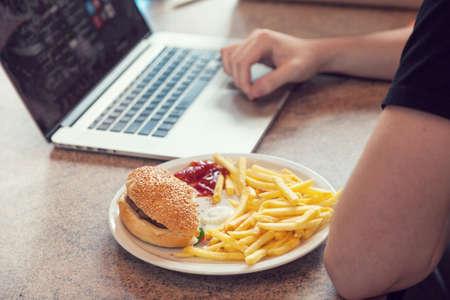 break fast: Laptop with lunch, break fast