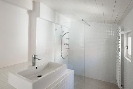tiled: Architecture, bathroom of old loft, tiled walls