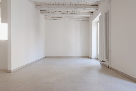 renovated: renovated old house, empty room with withe walls, interior Stock Photo