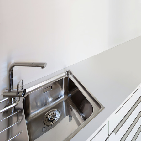 domestic kitchen: Interior, steel sink of a domestic kitchen Stock Photo