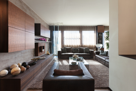Interiors of new apartment , living room with leather divans Imagens