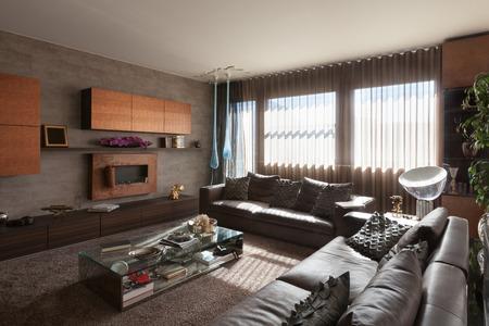 新しいアパート、革セッティ付きのリビング ルームのポリマーします。 写真素材