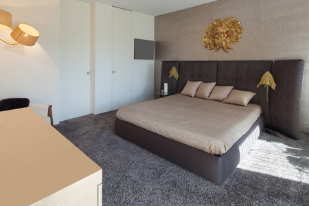 double bed: Interiors of new apartment , comfortable bedroom