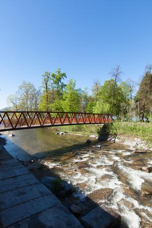 corten: Bridge over the river in Lugano Stock Photo