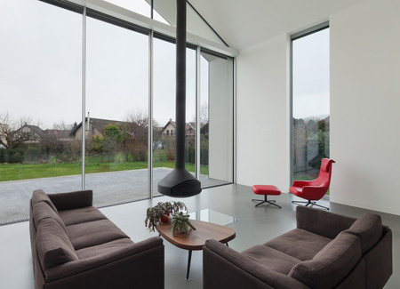 living room window: Interior of a beautiful modern house, living room Stock Photo