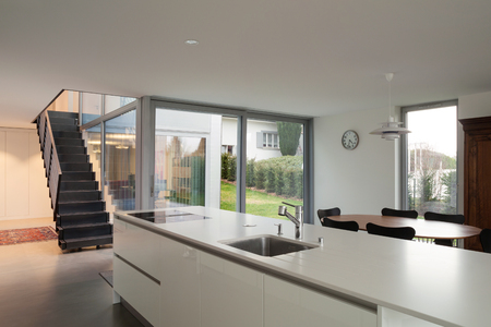 wide open: Interior of a modern house, wide open space with kitchen