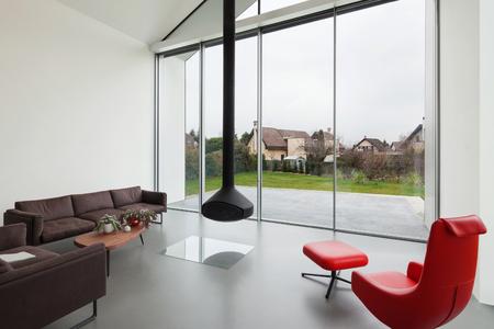 modern interior: Interior of a beautiful modern house, living room Stock Photo