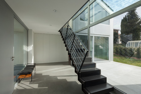 Interior, iron staircase of a modern house