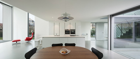 Interior of a beautiful modern house, wide domestic kitchen