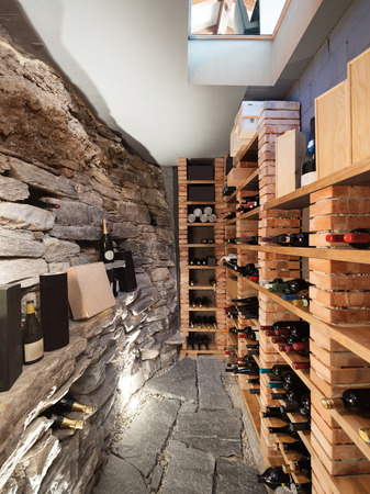 luxury house: Wine cellar in luxury house Stock Photo