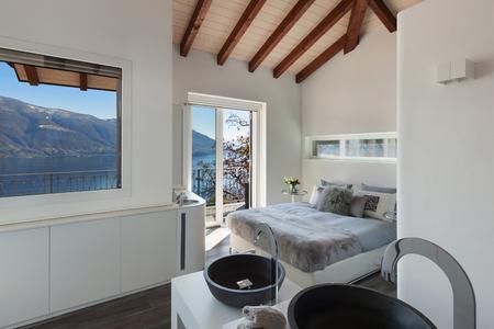bedroom design: Interior of a loft, bedroom with bath, modern design