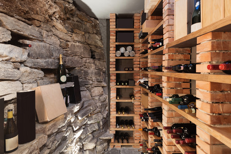 Wine cellar in luxury house Stock Photo