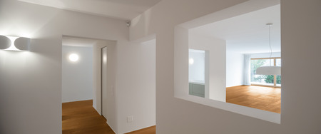 interior wall: Interior of modern apartment with wooden floor