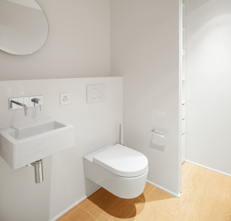 wall angle corner: Interior of modern apartment bathroom Stock Photo