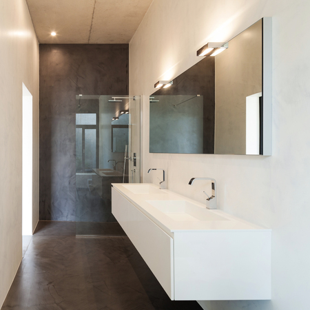 interior of apartment, modern bathroom with sink and shower 版權商用圖片