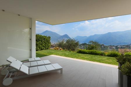 veranda: Interior of new apartment, veranda with two sunbeds