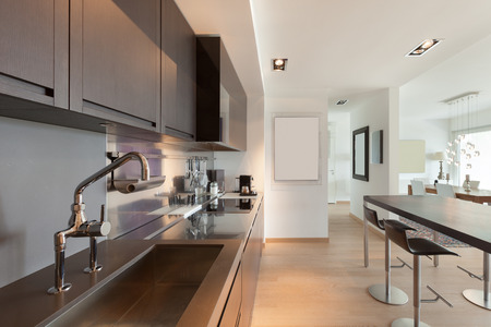 contemporary kitchen: Interiors of new apartment, contemporary domestic kitchen