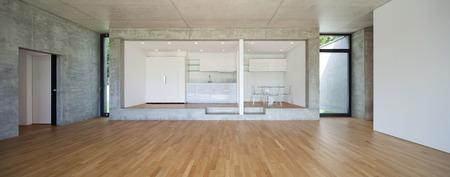 empty house: Interior of modern kitchen of concrete apartment with parquet floor Stock Photo