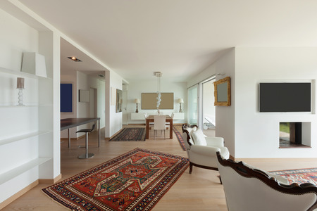 apartment living: Interiors of new apartment, wide living room