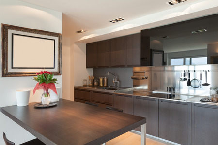 domestic kitchen: Interiors of new apartment, contemporary domestic kitchen