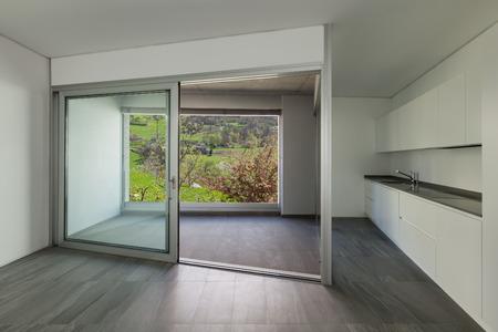room door: Interior of empty apartment, room with balcony, sliding door Stock Photo