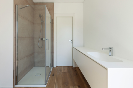 Interior of new apartment, bathroom with shower and sink Stock Photo