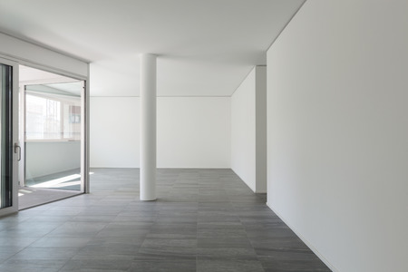 Interior of empty apartment, wide room with inside terrace Stock Photo