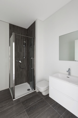 bathroom tiles: modern bathroom of new apartment, white walls and gray tiles