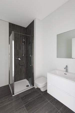 cabine de douche: salle de bains moderne de nouvel appartement, murs blancs et tuiles grises Banque d'images