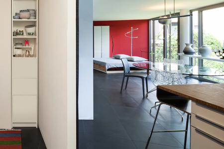 wide open spaces: interior of a loft, wide open space