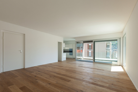 wide open spaces: Interior of empty apartment, wide room with parquet floor and windows