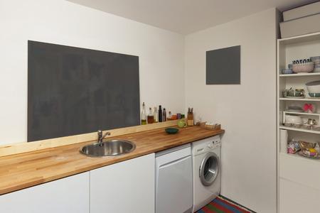 Interior Of A Studio Apartment, Washing Machine And Dishwasher ...