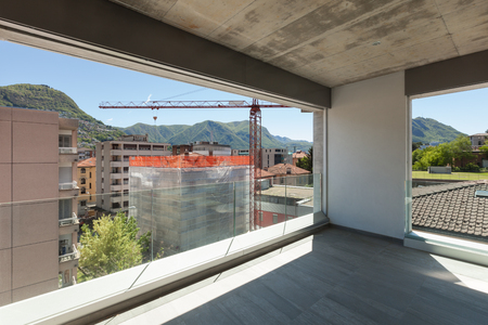 property development: terrace of a building in cement, exterior