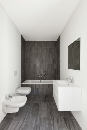 modern bathroom of new apartment, white walls and gray tiles